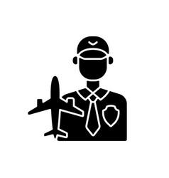 aviation security black glyph icon vector image