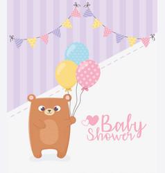 Bashower teddy bear with balloons pennants vector