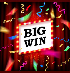 Big win text over color golden confetti vector