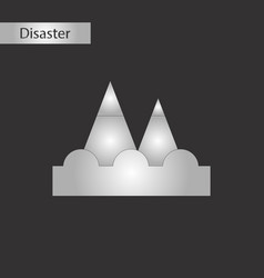 Black and white style icon tsunami mountains vector