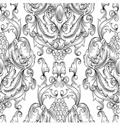 Black damask seamless pattern hand drawn vector