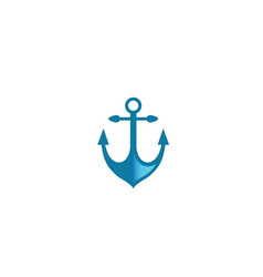 blue anchor for boat and yacht for logo design vector image