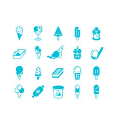 blue ice cream icons simple flat set frozen vector image