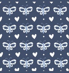 blue white butterflies and hearts repeat pattern vector image