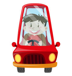 Boy driving red car vector