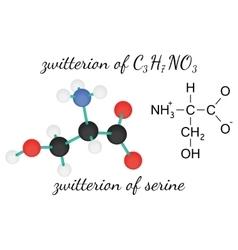 C3H7NO3 zwitterion of serine amino acid molecule vector image