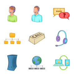 call center icon set cartoon style vector image
