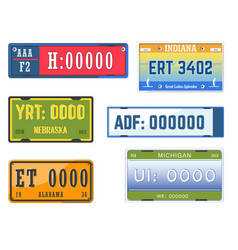 car numbers plates vehicle license american states vector image