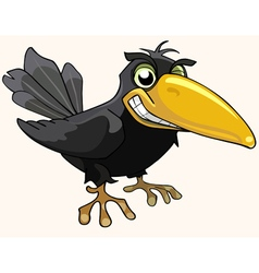 Cartoon angry bird crow smiling vector