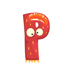 Cartoon character monster letter p vector