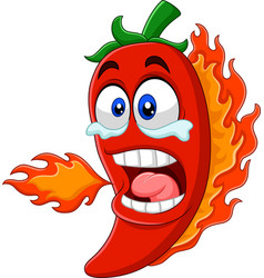 cartoon chili pepper breathing fire vector image