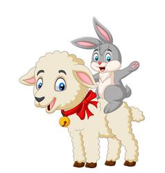 cartoon cute bunny riding a lamb vector image