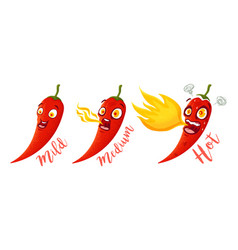 cartoon different red chillies vector image