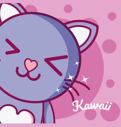 cat cute kawaii cartoon vector image
