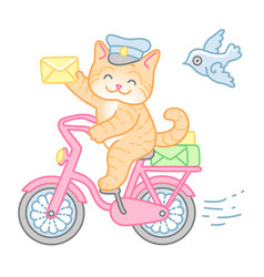 cat postman vector image