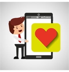 Character with mobile app heart sign vector