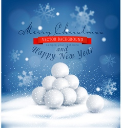 Christmas background with a bunch of snowballs vector image