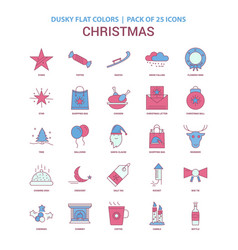 Christmas icon dusky flat color - vintage 25 icon vector