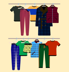 Clothes racks with wear on hangers set flat vector