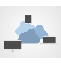 Cloud technology and computers vector