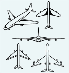 collection different airplane vector image
