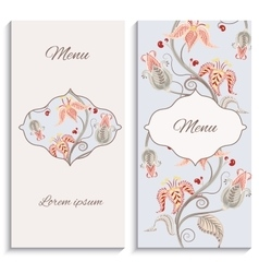 Color floral vintage ornament menu vector image