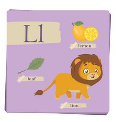 colorful alphabet for kids - letter l vector image