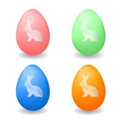Colorful Easter eggs with bunny rabbits vector