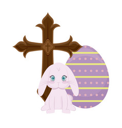 cross catholic with rabbit and egg of easter vector image