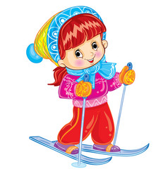 cute girl in a big knitted hat is skiing cartoon vector image