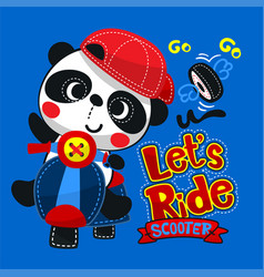 cute panda boy wearing red hat on scooter vector image