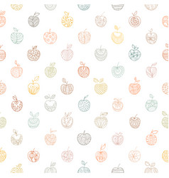 doodle seamless apple pattern on white background vector image