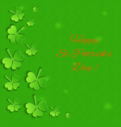 emerald background with paper shamrock vector image