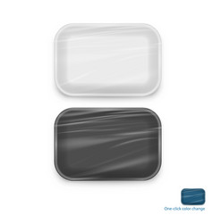empty white and black plastic food tray container vector image