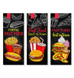 fast food banner set with chalkboard menu vector image