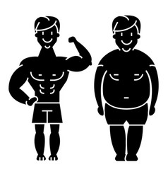 fitness - before and after - strong man - fat guy vector image