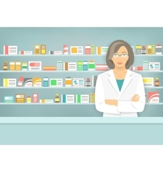 Flat style woman pharmacist at pharmacy opposite vector
