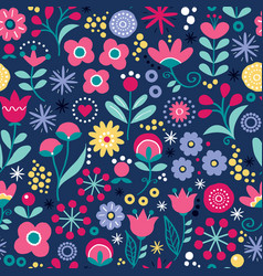 floral seamless folk art pattern vector image