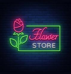 Flower store logo neon sign flower shop vector