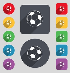 football icon sign A set of 12 colored buttons and vector image