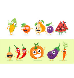 Funny fruit and vegetables - set of vector