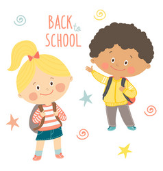 funny hand drawn kids with backpacks cute boy and vector image