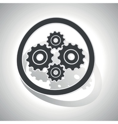 Gears sign sticker curved vector image