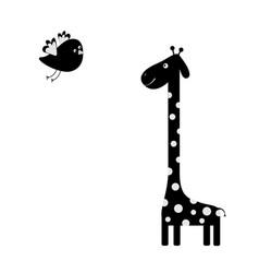 Giraffe with spot flying bird black silhouette vector