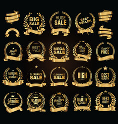 golden sale laurel wreath collection vector image