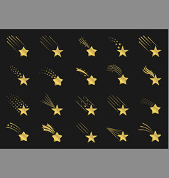 Golden shooting star icons vector