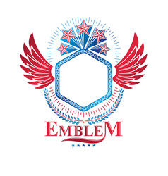 Graphic emblem composed using ancient star eagle vector