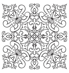 Hand drawing tile vintage black line pattern vector image