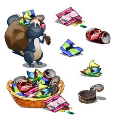 Happy skunk carries a bag of garbage vector