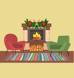 Interior design room decorated for christmas vector